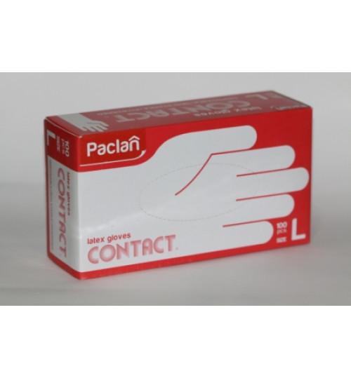 Перчатки латексные Paclan опудр. размер L (100 шт.=50пар/уп)