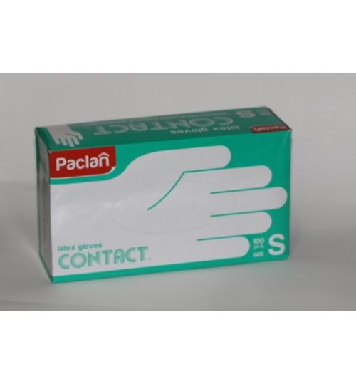 Перчатки латексные Paclan опудр. размер S (100 шт.=50пар/уп)