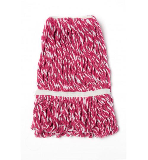 Насадка для швабры кентукки моп веревочный прошитый 400 гр. хлопок (красно-белый) С-015F