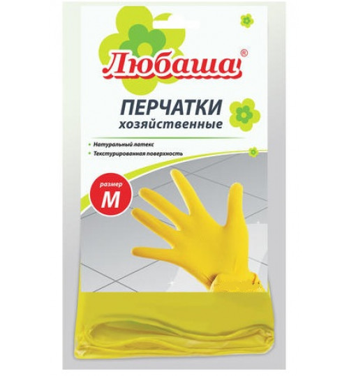 Перчатки хозяйственные латексные ЛЮБАША, с х/б напылением, размер M 1/12