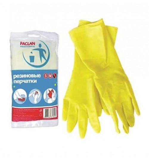 Перчатки резиновые PACLAN S (6-6.5) жёлтые, х/б напыление 1/5/100