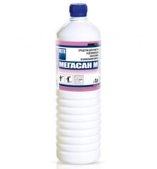 Мегасан М - концентр. средство для очистки и дезинфекции сантех. и кафельной плитки  1 л. 1/12