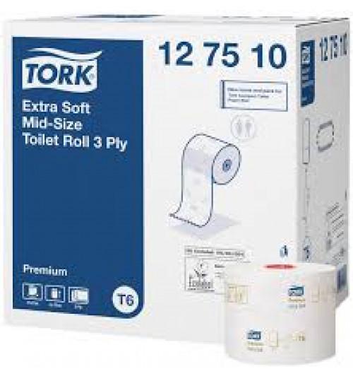 127510 Tork туалетная бумага Mid-size в миди рулонах ультрамягкая T6