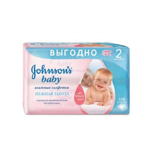 Салфетки Johnson's baby влажные Нежная забота 128шт. 1/6