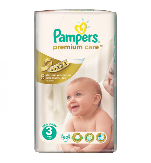 Pampers Premium Care Midi (4-9 кг) 60шт 1/3