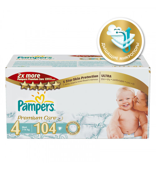 Pampers Premium Care Maxi (7-14 кг) мега 104шт