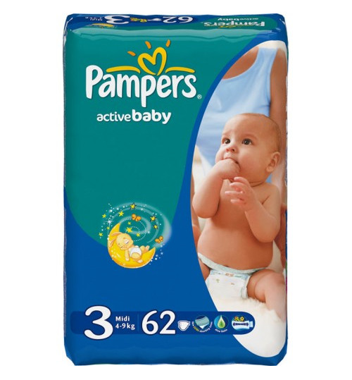 Pampers Active Baby миди 62шт (4-9кг) 1/2