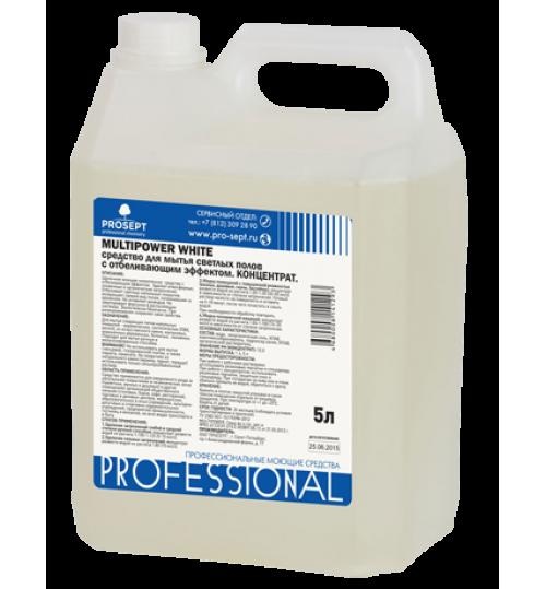 Средство для мытья светлых полов c отбеливающим эффектом PROSEPT Multipower White 5 л.