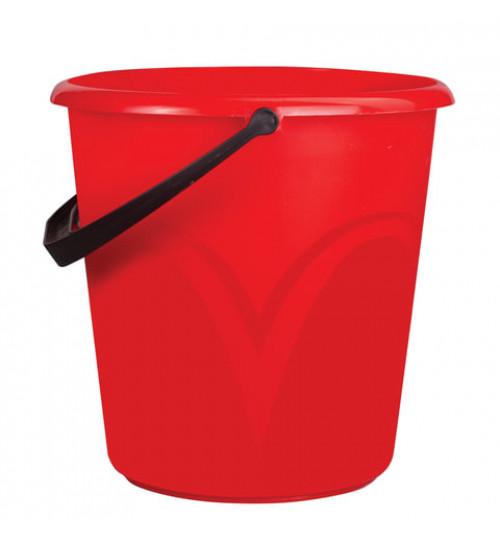 Ведро пластмассовое 8 л. красное, круглое без крышки