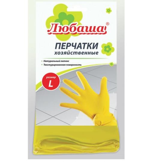 Перчатки хозяйственные латексные ЛЮБАША, с х/б напылением, размер L 1/12