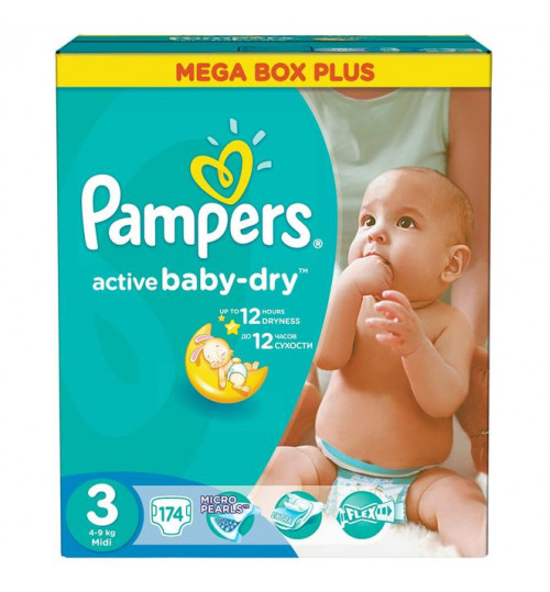 Pampers Active Baby миди мега+ 174шт (4-9кг) 1/1
