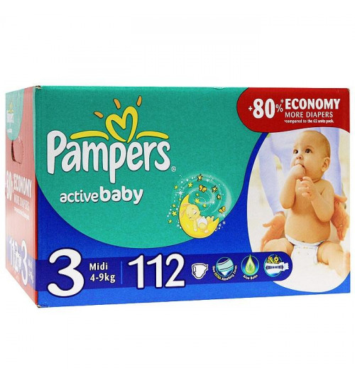 Pampers Active Baby миди джайнт+ 112шт (4-9 кг) 1/1
