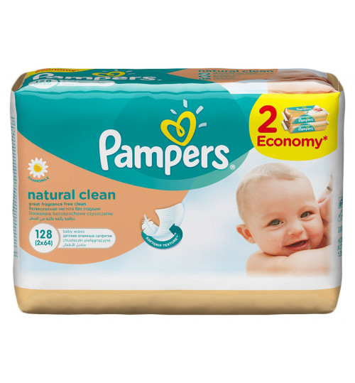 Pampers Детские салфетки Naturally Clean Duo 2х64 шт 1/6