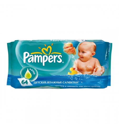 Pampers Детские салфетки Natural Clean 64 шт 1/12