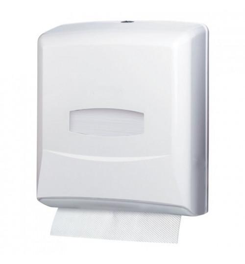 Диспенсер для бумажных полотенец Z,V - сложения , белый, пластиковый, (200-250 листов) 1/1
